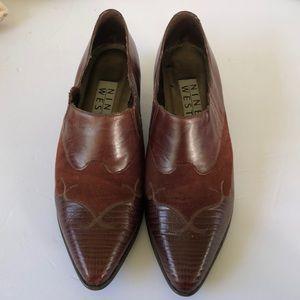 Vintage 7.5 N Brown Cicily Leather Slip On Cowboy